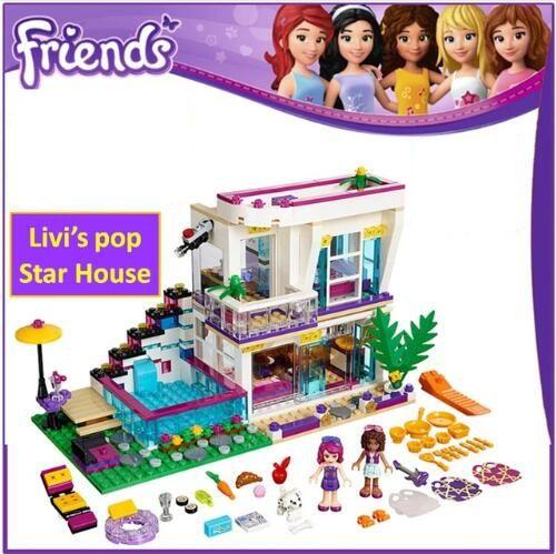 01046 644Pcs Model building kits Compatible with Lego Friends Livi's Pop Star House 41135 Emma Mia 3D Bricks Figure toys 10498