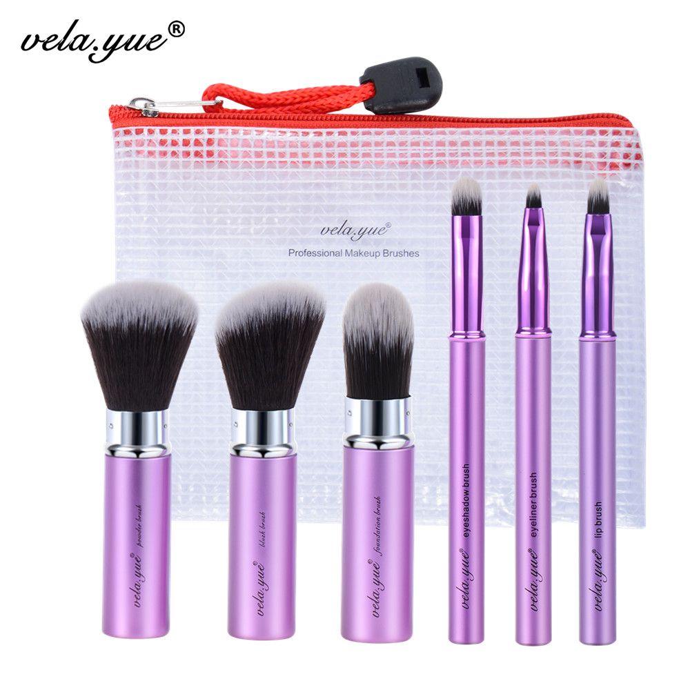 Vela. yue Maquillage Brush Set 6 pcs Voyage Beauté Outils Kit Rétractable avec Couverture et Cas