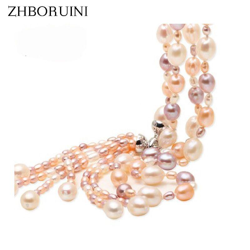 Mode Long collier de perles multicouches collier de perles d'eau douce gland Mix couleur 925 bijoux en argent Sterling pour les femmes cadeau