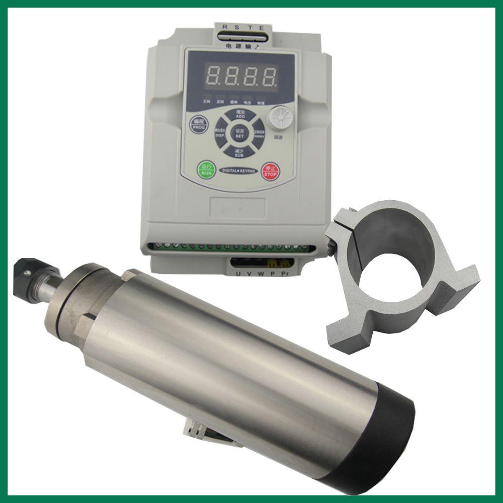 CNC spindel kit ER 20 KW luftkühlung spindelmotor 4 lager + 2.2KW VFD wechselrichter + spindel clamp 80mm