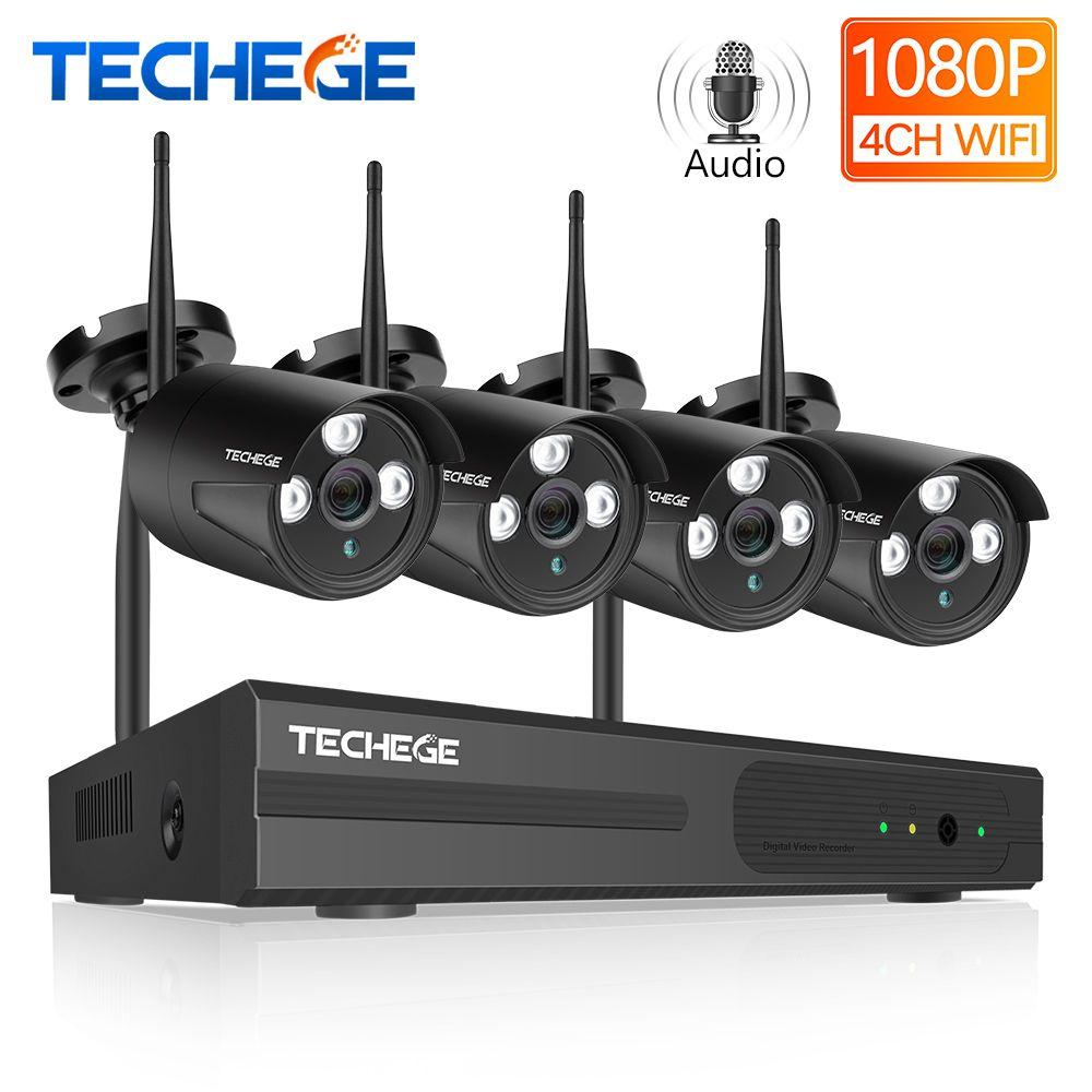 Techege Drahtlose CCTV System 4CH 1080 P Wireless NVR 2.0MP WiFi IP Kamera Audio Record CCTV Home Security System Überwachung kit