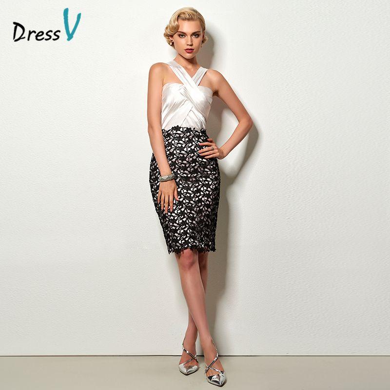 Dressv fashion sheath short cocktail dress ivory halter sleeveless knee length lace office dress short cocktail party dresses