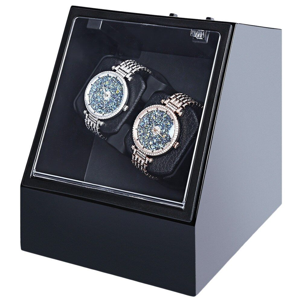 Wooden Automatic Watch Winder Auto Silent Watch Winder Irregular Shape Transparent Cover Wristwatch Box with US Plug