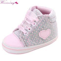 Ocasional clásico Zapatos de bebé niño recién nacido lunares bebé Niñas otoño Encaje-up Primeros pasos sneakers Zapatos