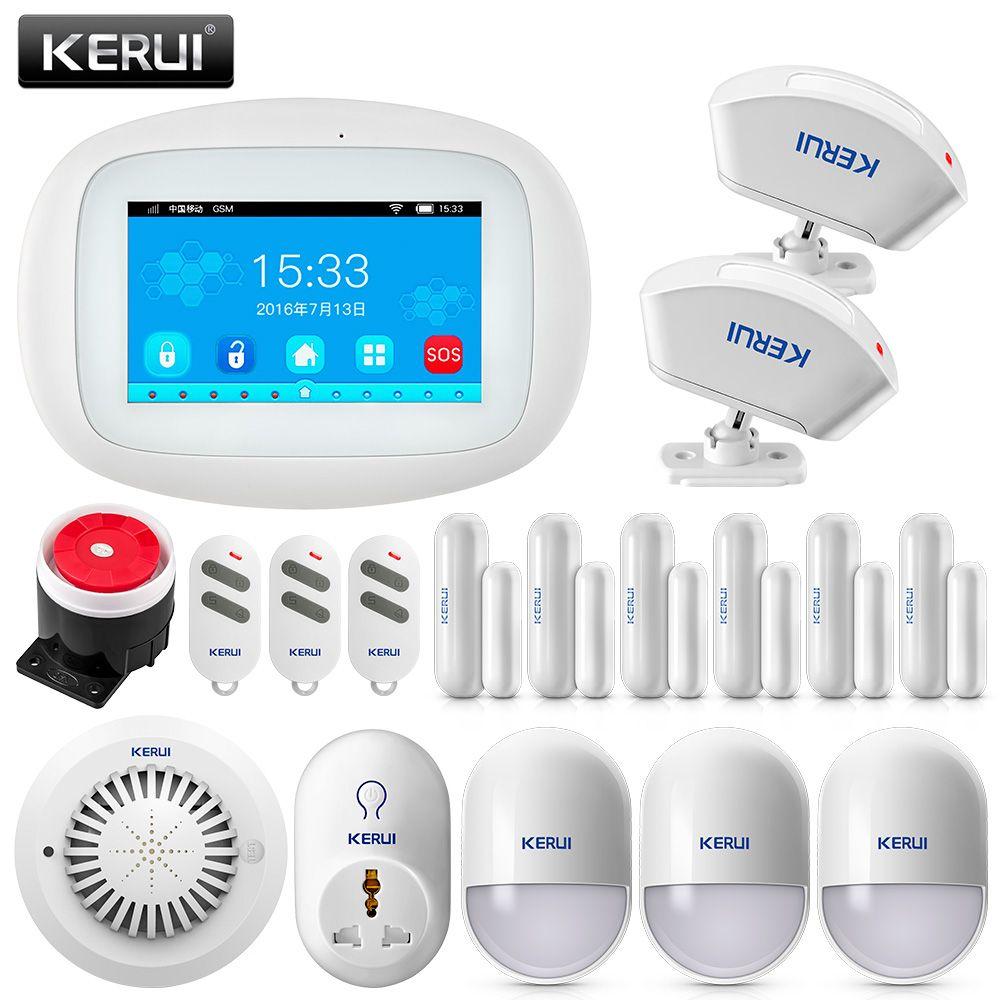 KERUI K5 4.3 inch TFT Color Screen WIFI+ GSM Alarm System Security Alarm APP Control PIR Motion Sensor Door Sensor Smoke Alarm