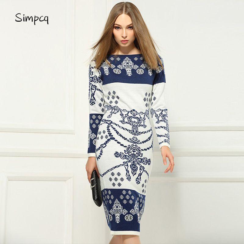 Full Slash Neck Straight Ankle-length Real New Vestidos De Fiesta Maxi Dress Charm Women Dress Sweater Long Sleeve Hip