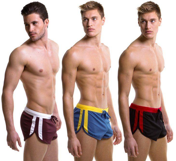 Maille pantalon court pour hommes avec Jockstrap sous-vêtements à l'intérieur Sexy salon porter 5 couleurs taille S M L XL