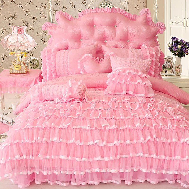Princess style Twin Queen King size Pink Cream Bedding set Luxury Bed cover Duvet cover Bed skirt Bed sheets set parure de lit