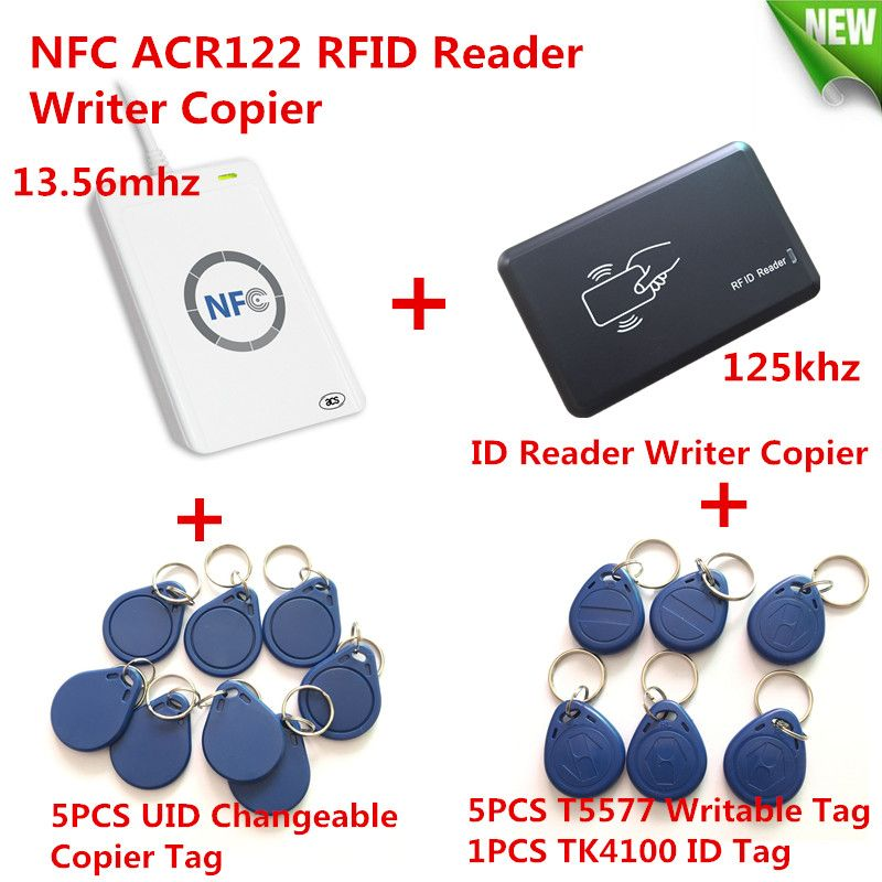 NFC ACR122U HF RFID Card &125KHZ ID Reader Writer Duplicate Crack clone S50 M1 UID Changable EM4100 T5577 RFID Card+ Copy Tool