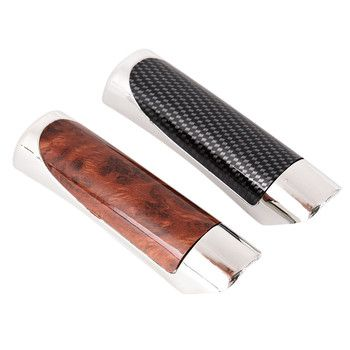 1pc Car Carbon Fiber Sleeve Wooden Style Hand Brake Ebrake Handle Hand Break Protect Cover