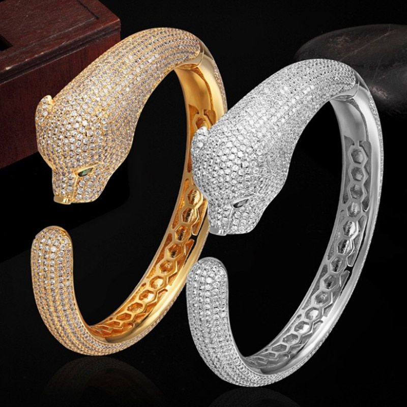 Luxury Brand Cubic zircon Leopard Animal Bangles for Women Men Jewelry Perfect Copper Gold silver color Bridal Bangles Bracelet