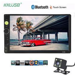 Autoradio 2 din 7 pulgadas LCD pantalla táctil reproductor de radio de coche auto audio bluetooth múltiples idiomas 7010b soporte vista trasera cámara