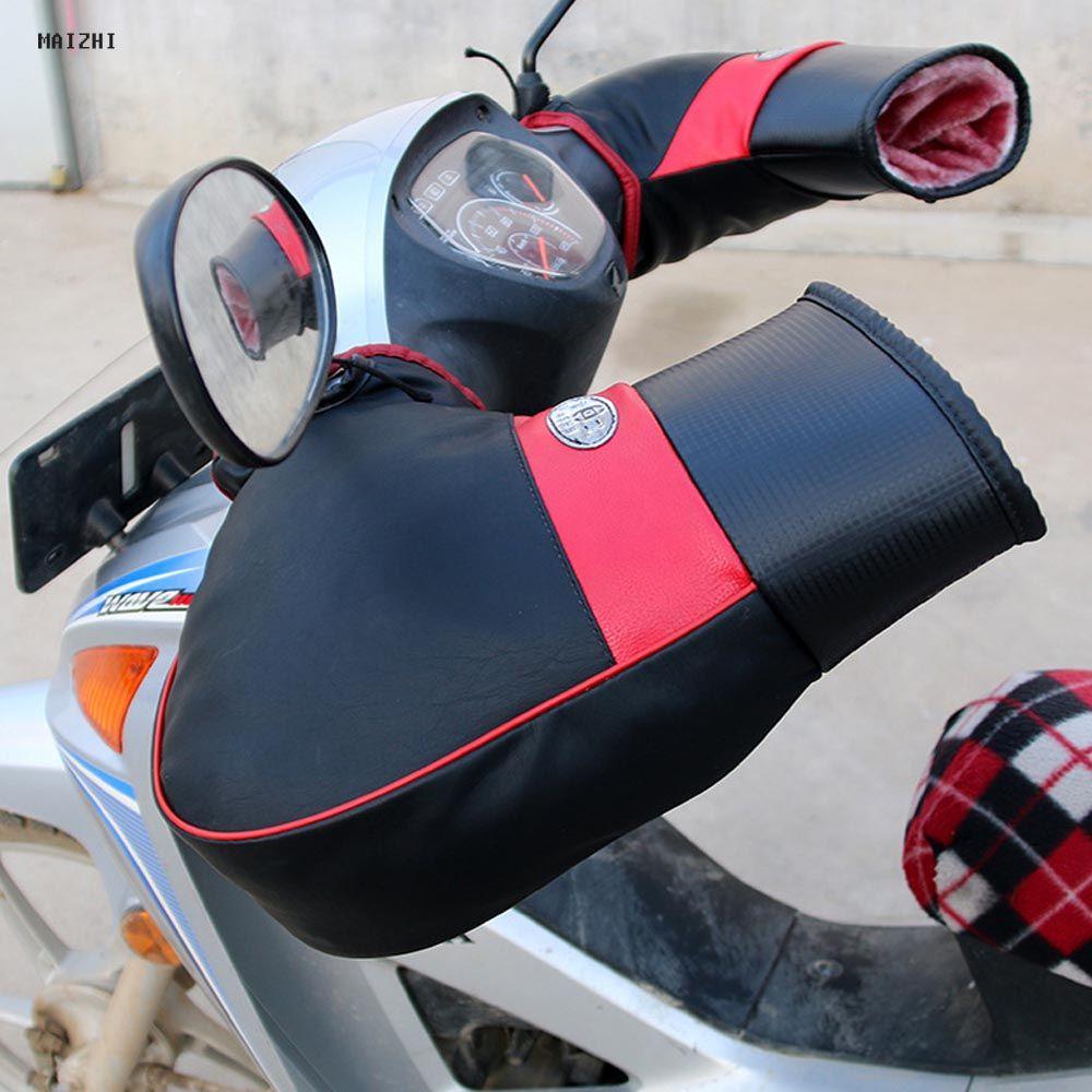 High Quality PU Leather Motorcycle motor Handlebar Muffs Snowmobile Waterproof Winter Hand Warm Covers Gloves Handle Bar Muffs