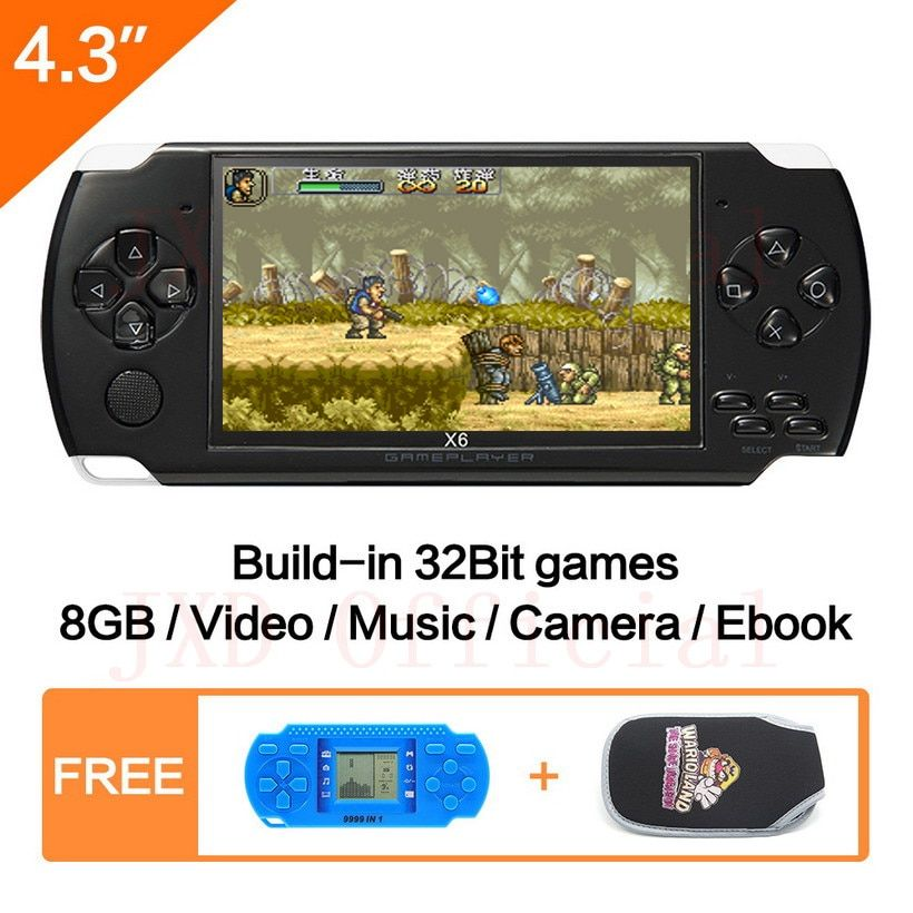 Free Shipping 4.3 inch Handheld Game Console 8Gb Mp4 Mp5 Function Video Game <font><b>Built</b></font> In 1200+real no-repeat for gba/gbc/sfc/fc/smd