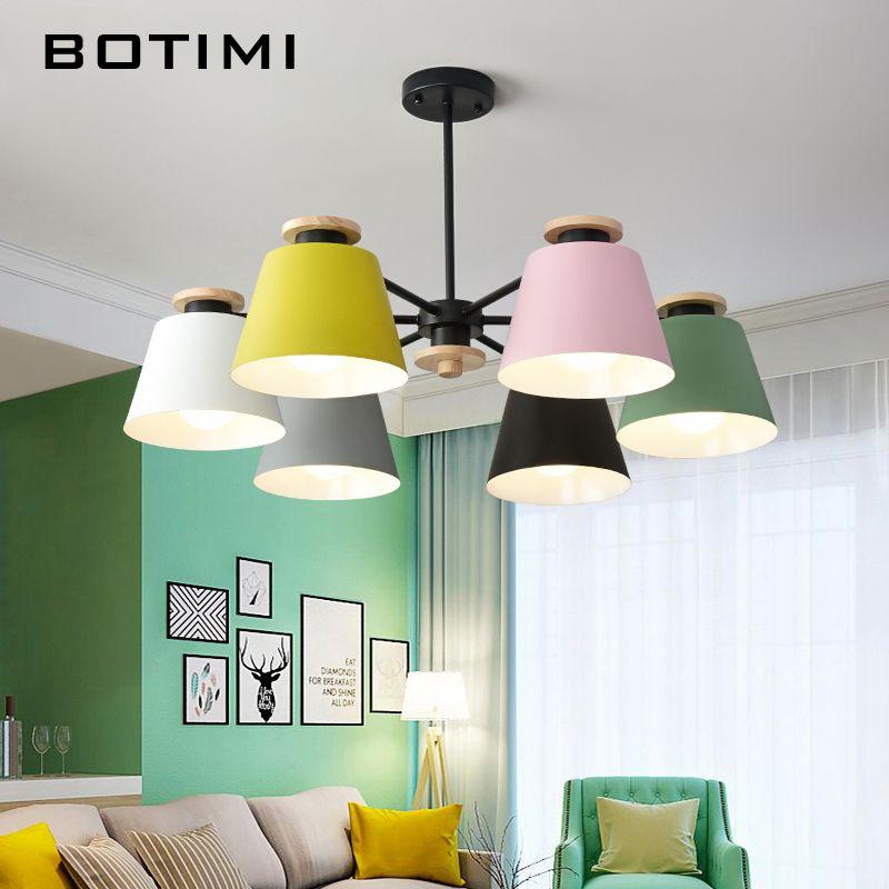 BOTIMI Ceiling Hanging Chandelier Lighting For Living Room LED Chandeliers Wooden Lustre Wood Dining Lamp Black Metal Lustres