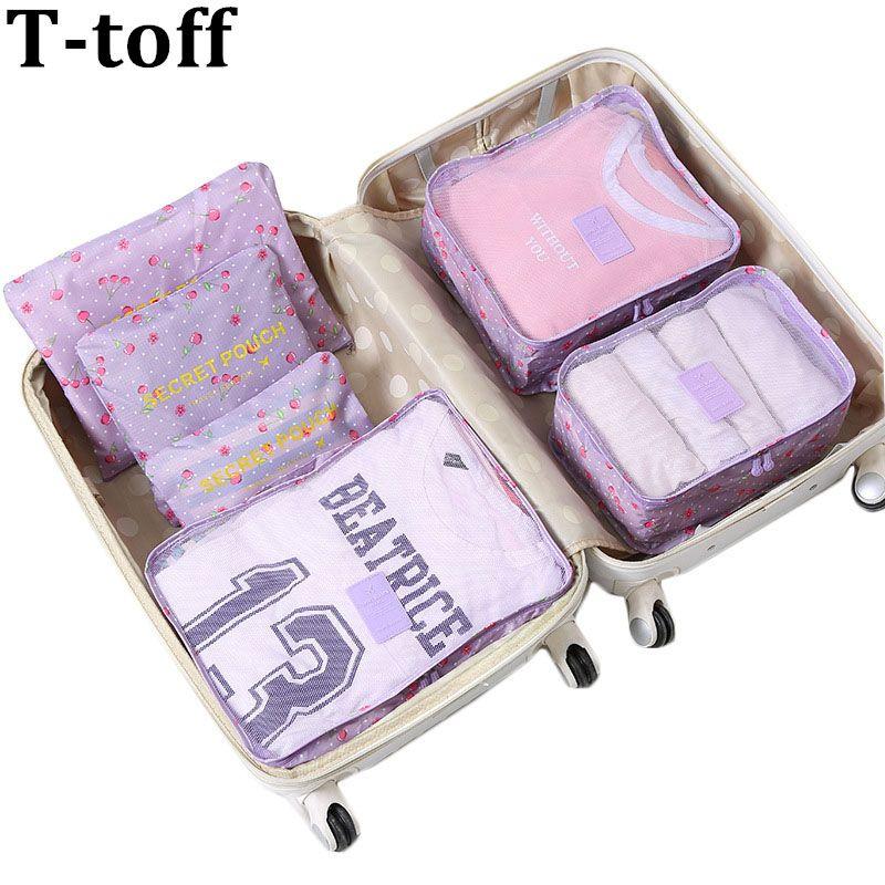 Nylon Packing Cube Travel Bag men women luggage 6 Pieces Set Large Capacity Bags Unisex Clothing travel bag <font><b>organizer</b></font>