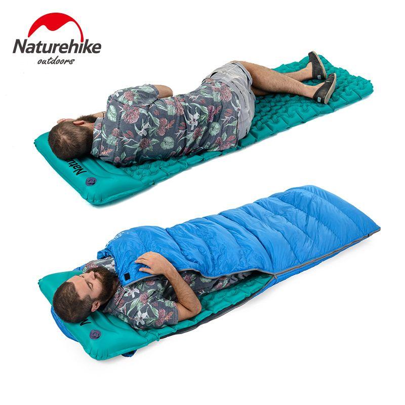 Naturehike Outdoor Inflatable Cushion Sleeping Bag Mat Fast Filling Air Moistureproof Camping Mat With Pillow Sleeping Pad 460g