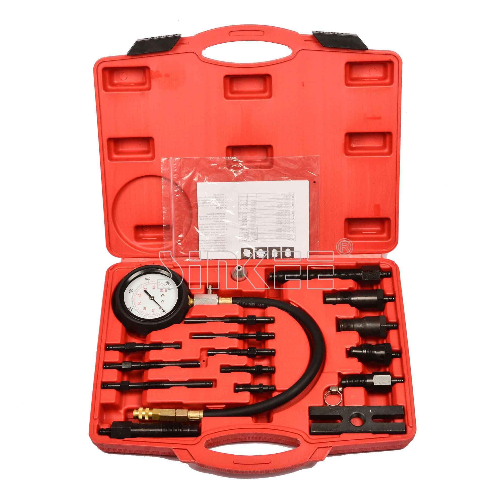 17pc Diesel Engine Compression Cylinder Pressure Tester Gauge Kit Set SK1028