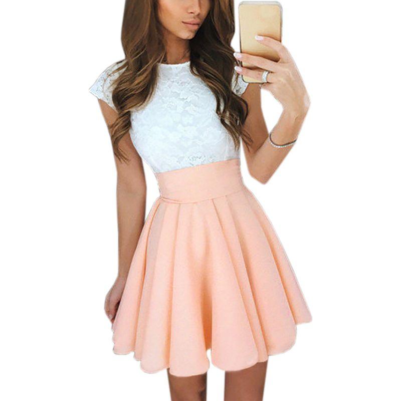 Lace Kawaii Dress Beach Summer Women Cute 2018 Flare Dresses Mini A Line Party Dress <font><b>Mujer</b></font> Robe Femme Plus Size GV651