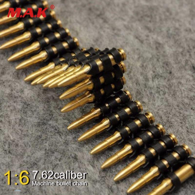 1/6 skala 7,62 kaliber 50 stück metall maschine kugel kette spielzeug für 12