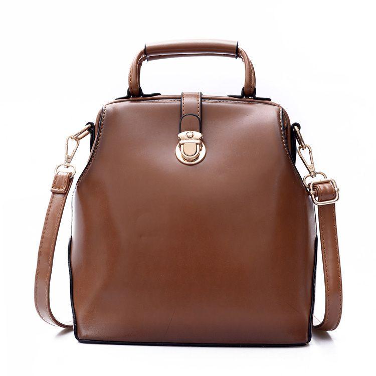 Vintage Women Leather Backpack Simple Style Shoulder Bag Hasp Lock Backpack Square Doctor Bag Teenag Girl Multi-use Backpack D08