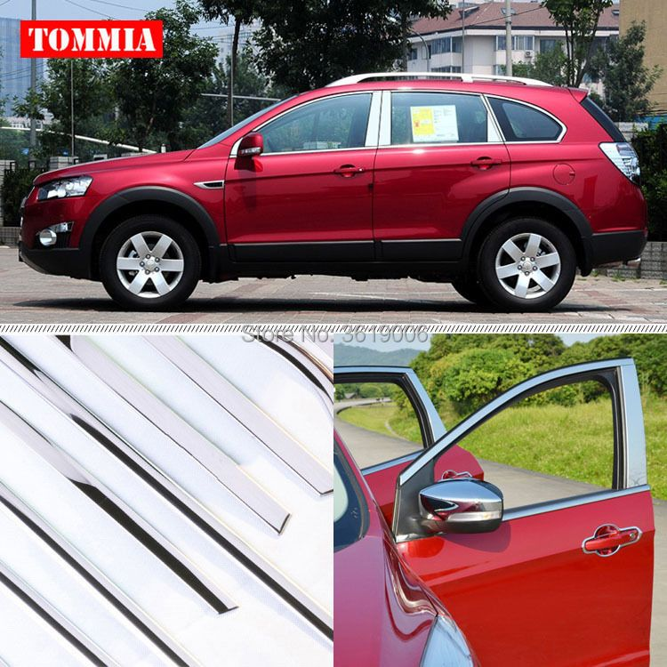 TOMMIA Full Window Middle Pillar Molding Sill Trim Chromium Styling Strips Stainless Steel For Chevrolet Captiva 2012-2017