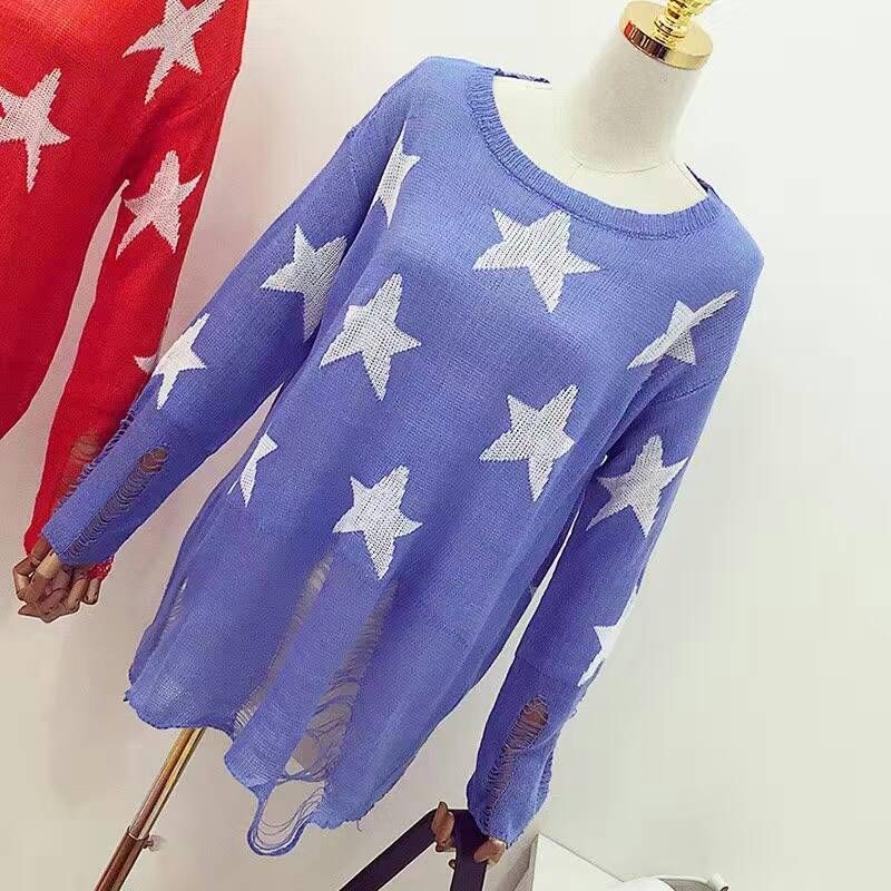 spring Long Sleeve Lovely Female Star Pullovers Fashion Loose Black ripped sweater Holes Hipster cute thin sweaters Outwear Tops