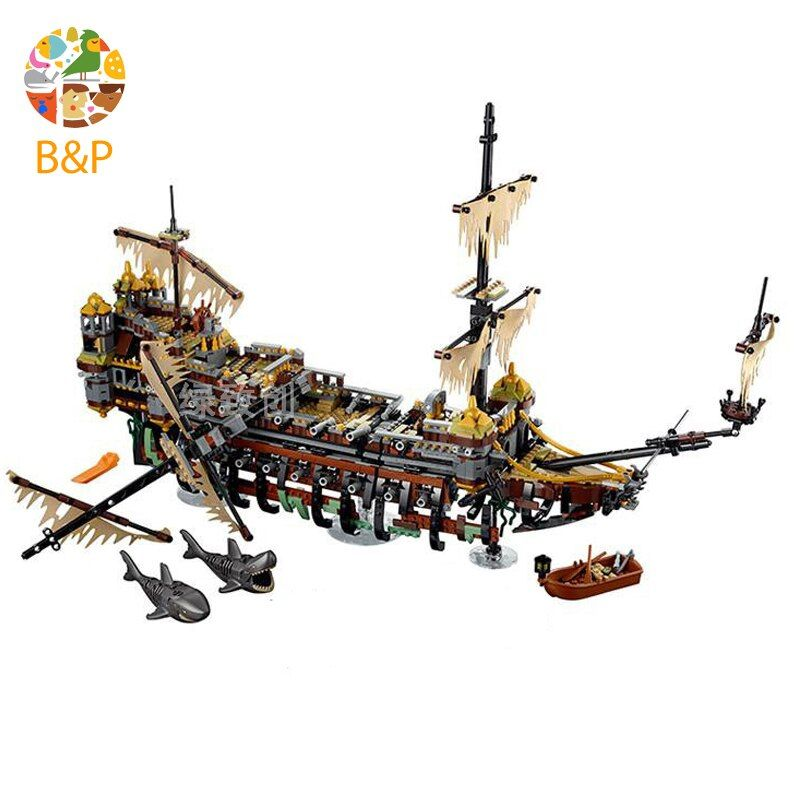 Bela 71042 10680 Pirates of The Caribbean Captain Jack Silent Mary Building Block Toys Compatible with Legoing Pirates Caribbean