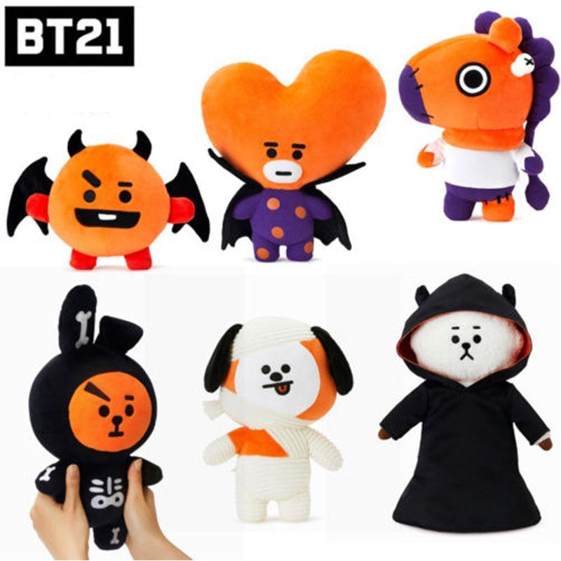 Kpop Bangtan Boys BTS BT21 Vapp Same Halloween Q Doll Pillow Plush Cushion Warm Bolster TATA COOKY CHIMMY SHOOKY Home Decor
