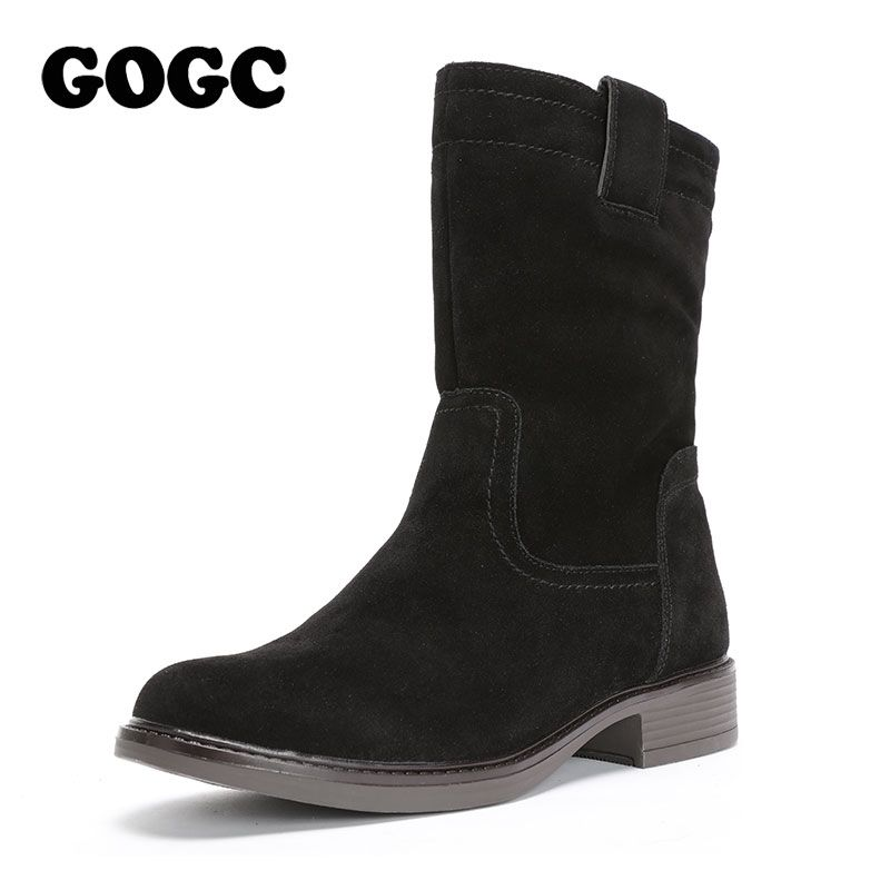 GOGC Genuine Leather Snow Boots Women Waterproof Warm Heel Woman Winter Shoes New Mid-Calf Boots Women's Boots for Winter 2018