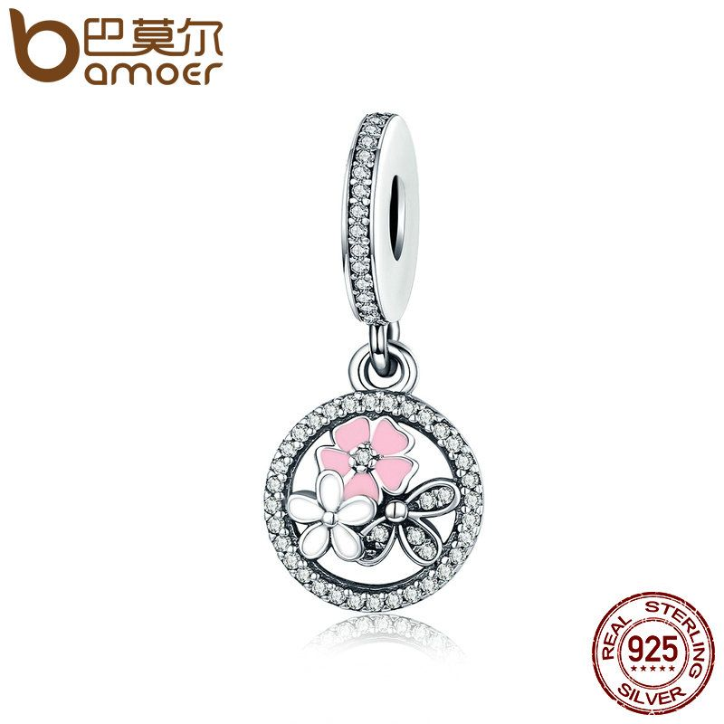 BAMOER 925 Sterling Silver Poetic Blooms, Mixed Enamels & Clear CZ Charms fit Bracelets & Bangles DIY Fine Jewelry Gift SCC139
