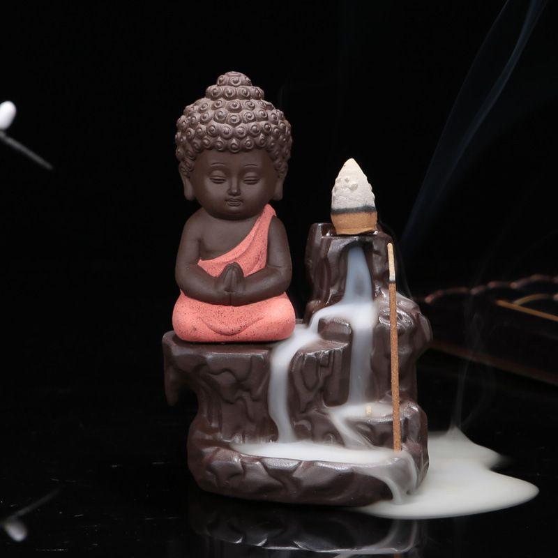 Le petit moine encensoir créatif décor à la maison petit bouddha porte-encens rétro-flux brûleur d'encens utilisation dans maison bureau Teahouse
