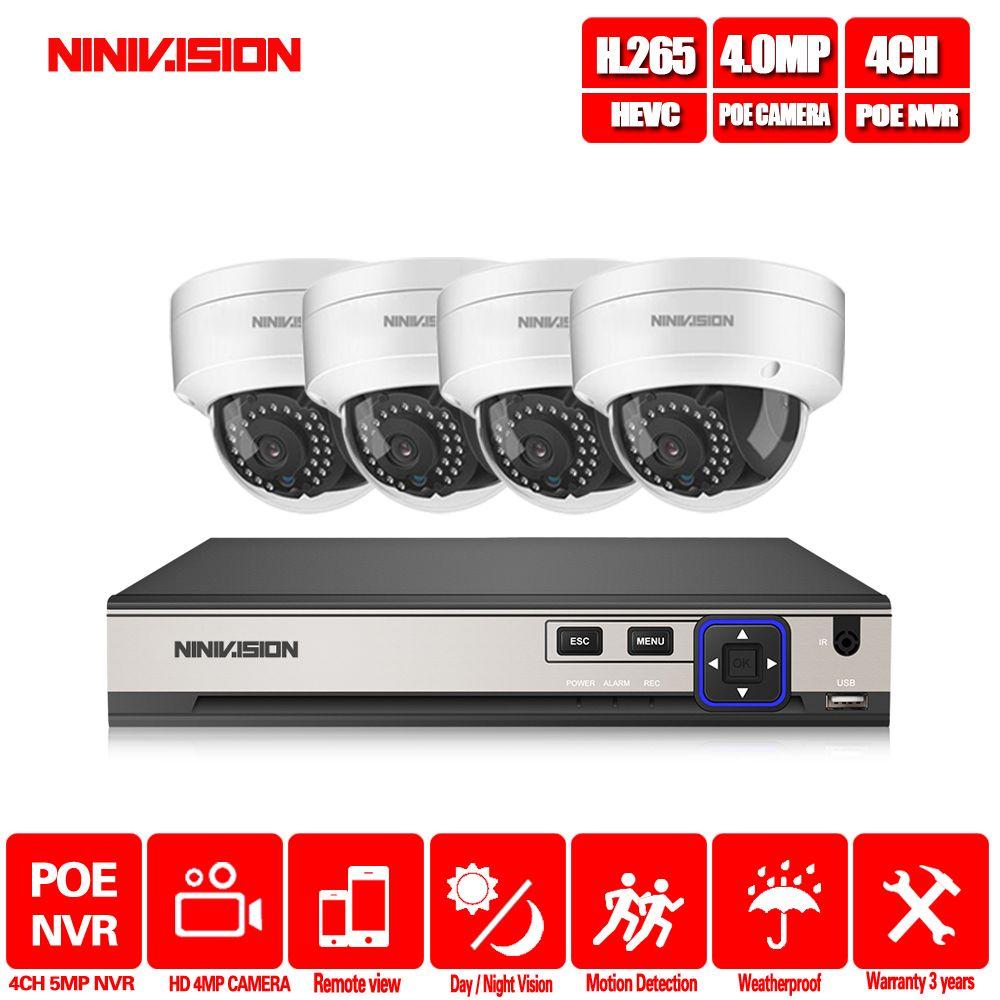 H.265 CCTV System POE NVR kit 4ch 4MP wasserdichte POE IP kamera kugel Home Security kamera system außen niedrigen lux onvif nivision