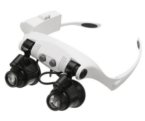 10X 15X 20X 25X Loupe à LED Double oeil lunettes Loupe lentille bijoutier montre réparation mesure avec 8 lentilles lampe à LED