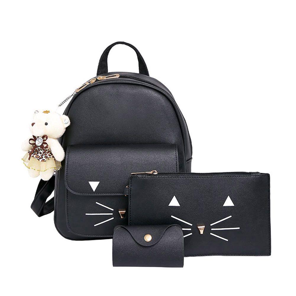 3 stücke Cartoon Cat Lächeln Rucksack Frauen Handtasche der Großen Kapazität Rucksack Schultaschen für Mädchen Im Teenageralter Leder Rucksack Set