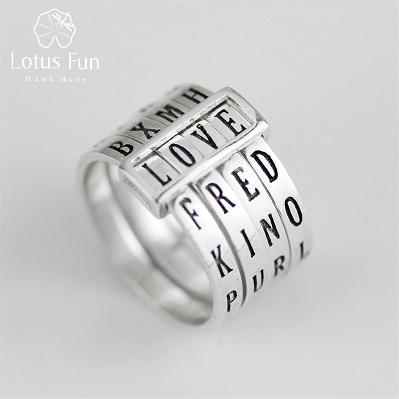 Lotus Fun Real 925 Sterling Silver Natural Handmade Fine Jewelry Letter Ring Can Make Different Words Rings for Women Bijoux