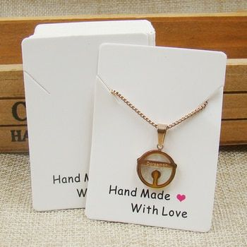 2design printed paper necklace pendant display packing card handmade with love printed packing jewelry card custom cost extra