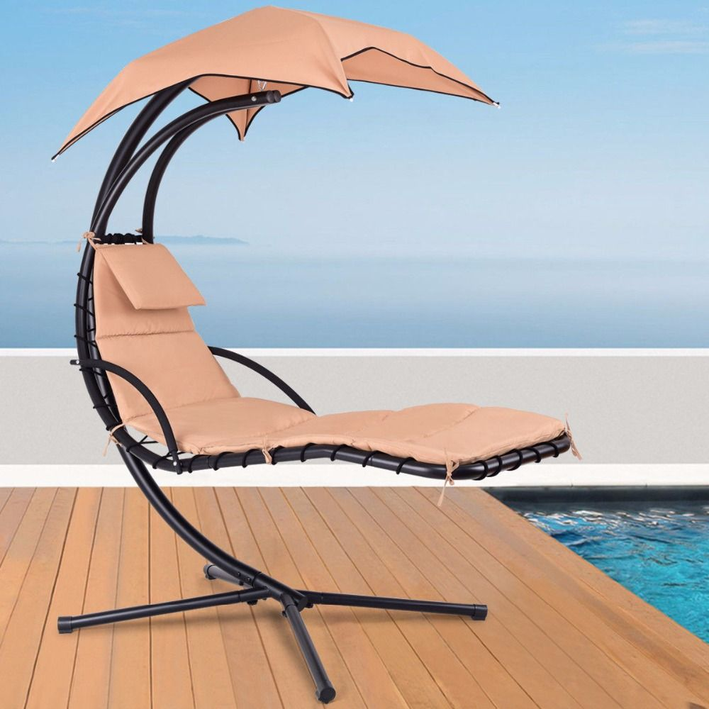 Giantex Hanging Chaise Lounger Chair Arc Stand Porch Swing Hammock Chair W/ Canopy Khaki Outdoor Furniture OP3460CF