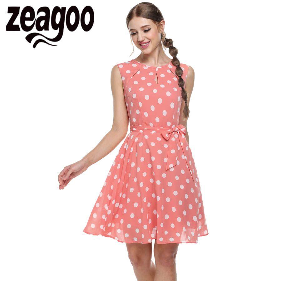 Zeagoo 2018 sexy été robe dot imprimer mousseline de soie élégant décontracté bow robes robe de soirée vestidos mujer blanc rose bleu noir XXL
