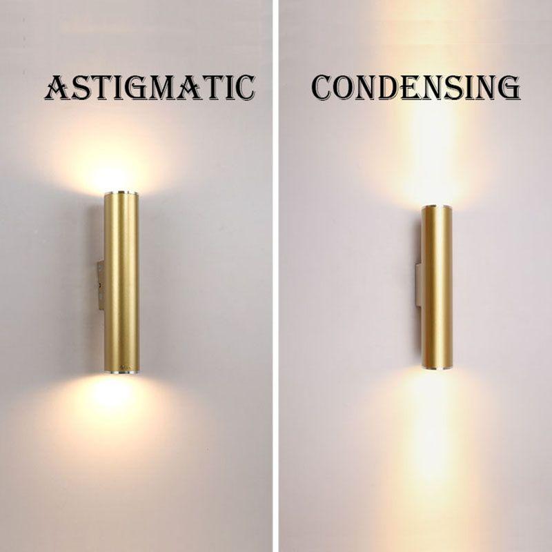 Wand Licht Gold Rohr Design lichter Überzug Aluminium Abdeckung FÜHRTE Leuchte Licht Flur Kaffee Shop Innen Up und Unten Licht