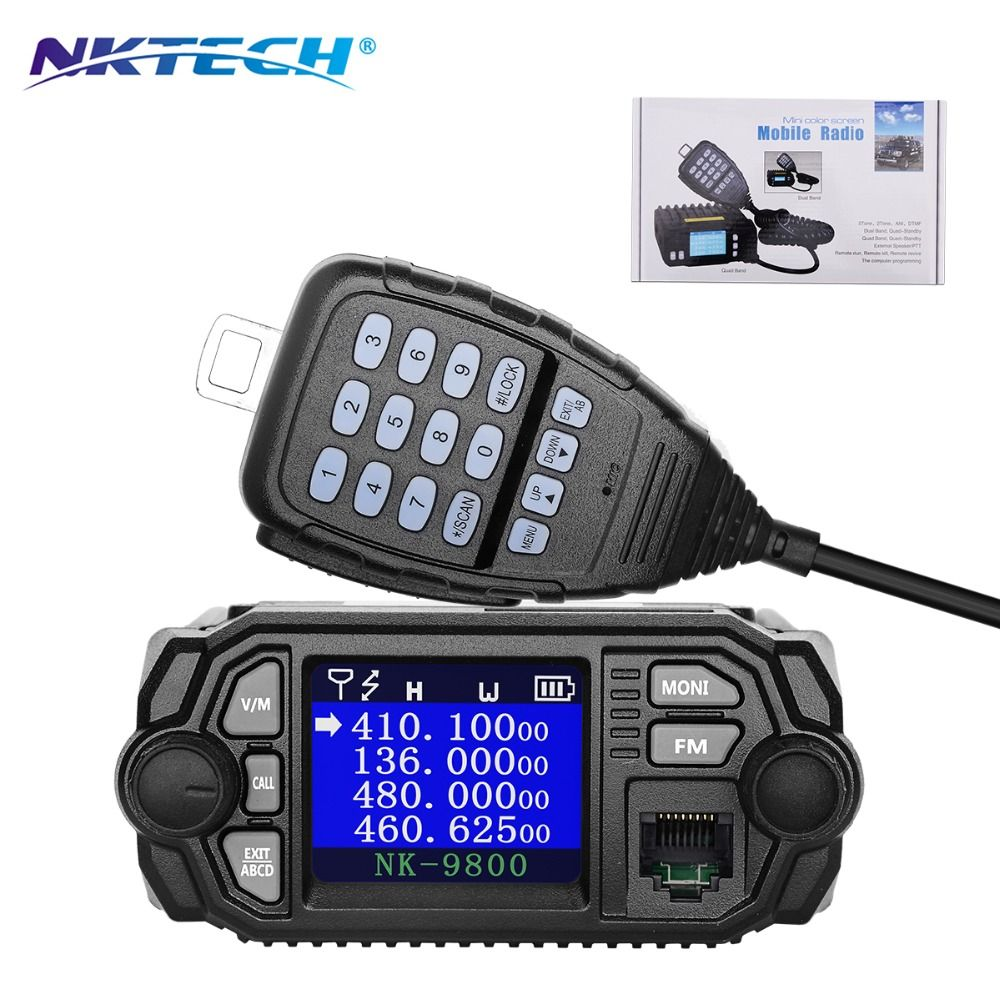 NKTECH NK-9800 Dual Band Display Quad Standby 5Tone 2Tone ANI DTMF 25W VHF 20W UHF Car/Trunk Mobile Transceiver Two Way Radio