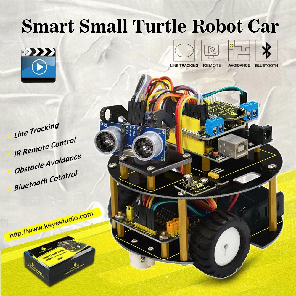 Keyestudio smart petit Robot tortue de voiture/voiture Intelligente pour Arduino Robot L'éducation Programmation + manuel + PDF (en ligne) + 7 Projets + Vidéo