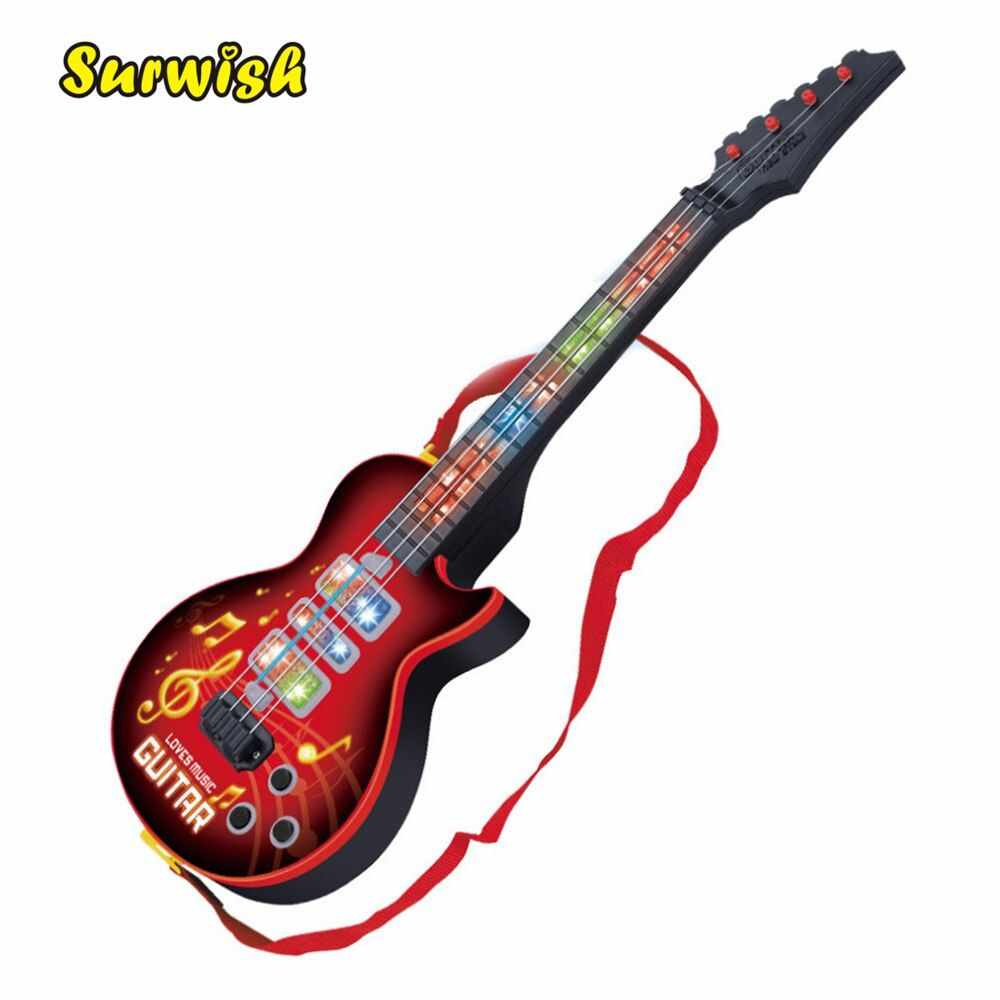 Hiqh Quality 4 Strings Music Electric Guitar Kids Musical Instruments Educational Toys For Children juguetes As New Year <font><b>Gift</b></font>