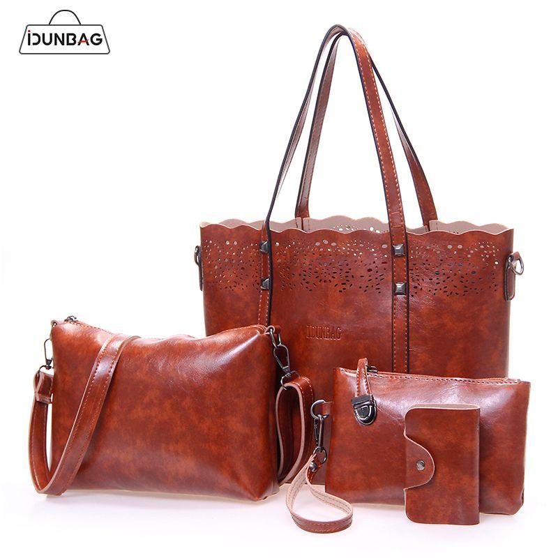 4pcs Hollow Out Women Bag Set Fashion Women Handbag Pu Leather Women Shoulder Bags+Crossbody Messenger Bag+Small Purse Clutch