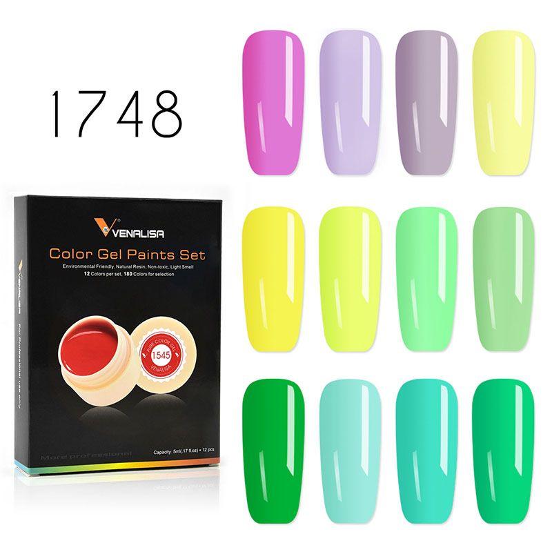 VENALISA peinture Gel 12 pièces/kits printemps solide couleurs Gel vernis vernis à ongles Design vernis à ongles Gel peinture UV Gel en boîte