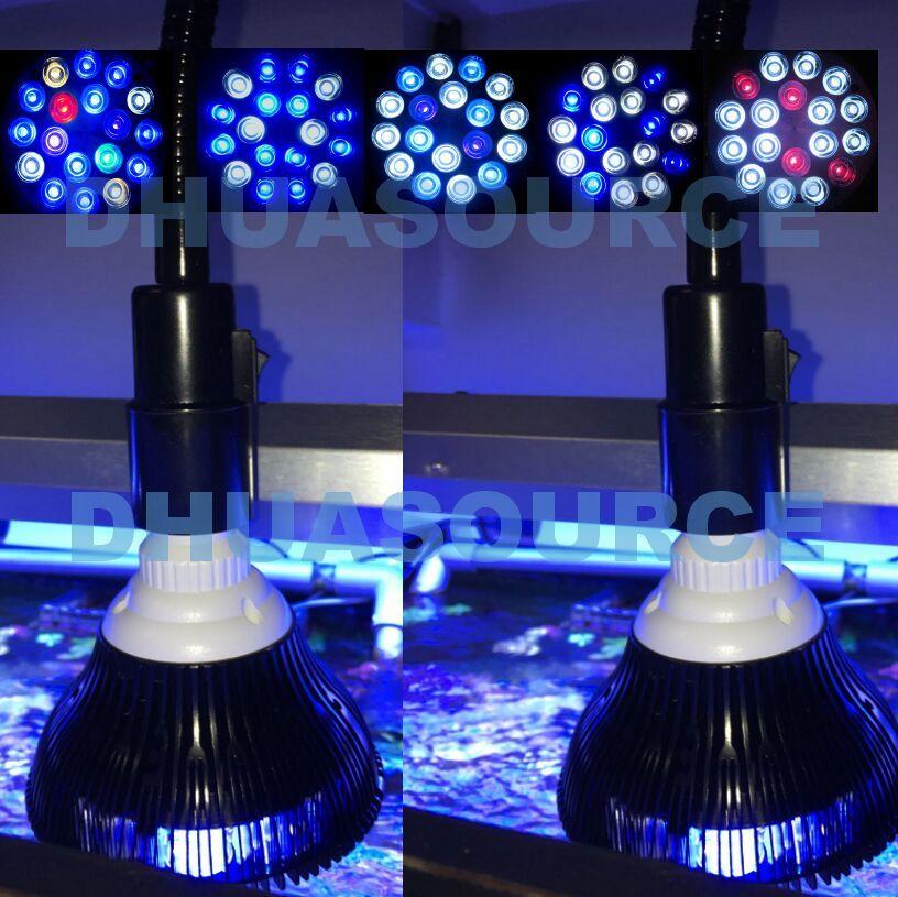 Schwarz shell LED Aquarium licht led pet Beleuchtung aquarium lampe pflanze birne 50/54 watt für salzwasser marine korallen riff sumpf algen