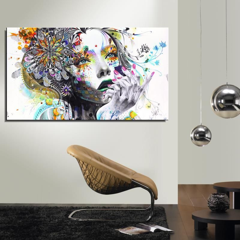 Девушка цветок бабочка цвет мультфильм рисунок живопись абстрактный Рисунок масло-спрей Холсты для рисования Home Decor Безрамные Art