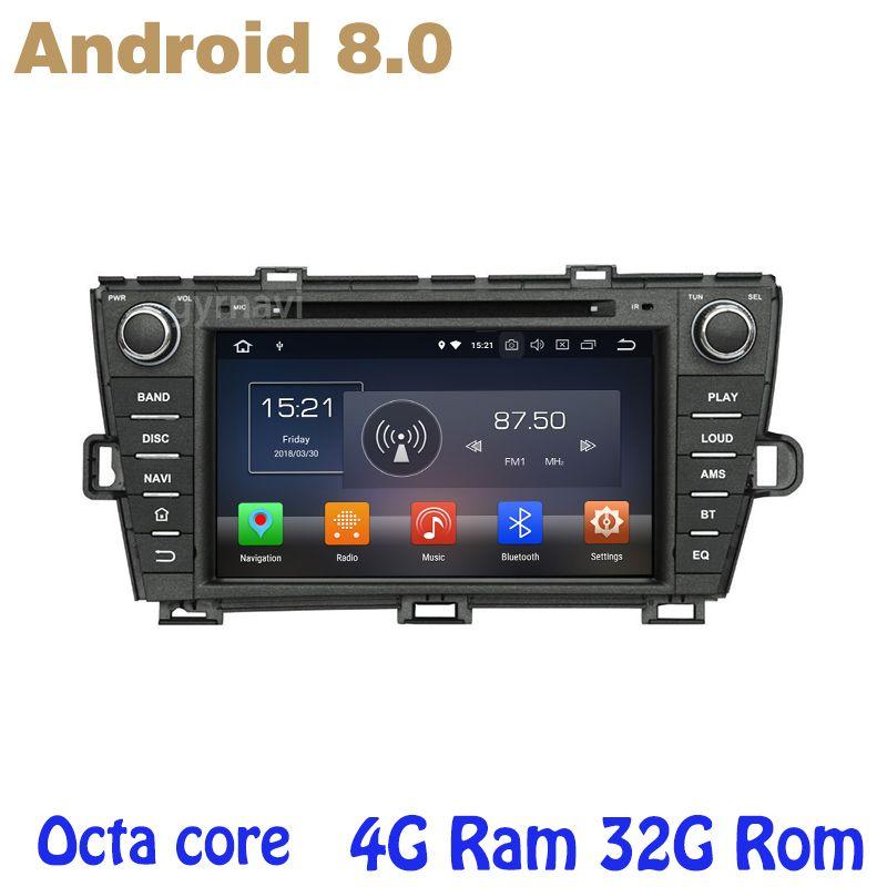 Android 8.0 auto dvd gps für toyota prius 2009-2013 mit Octa core PX5 4G RAM 32G ROM wifi 4g usb auto Multimedia