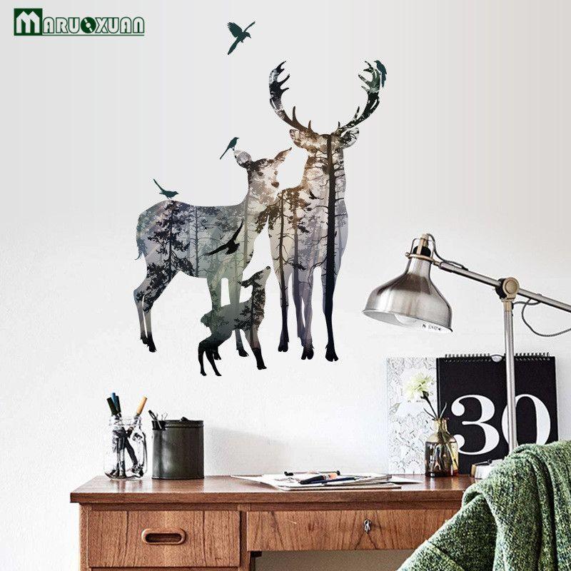 MARUOXUAN Cerf et une Silhouette Autocollant Moderne Scandinave Style Entreprise Chambre Salon TV Décoratif PVC Stickers Muraux
