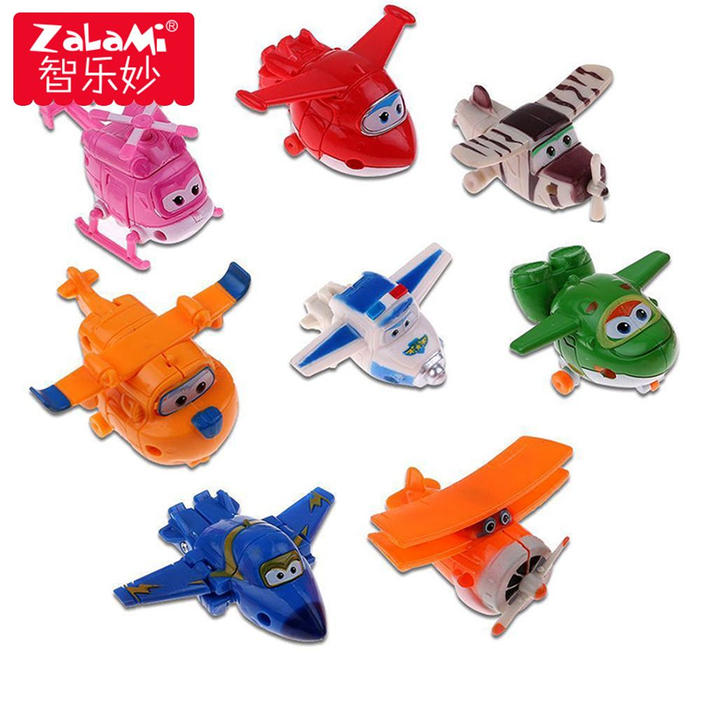 8pcs/set MINI Airplane Anime Super Wings Model toy Transformation Robot Action Figures superwings toys for Children Kids